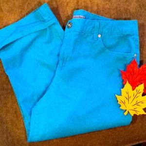 Teal blue cuffed crop pants